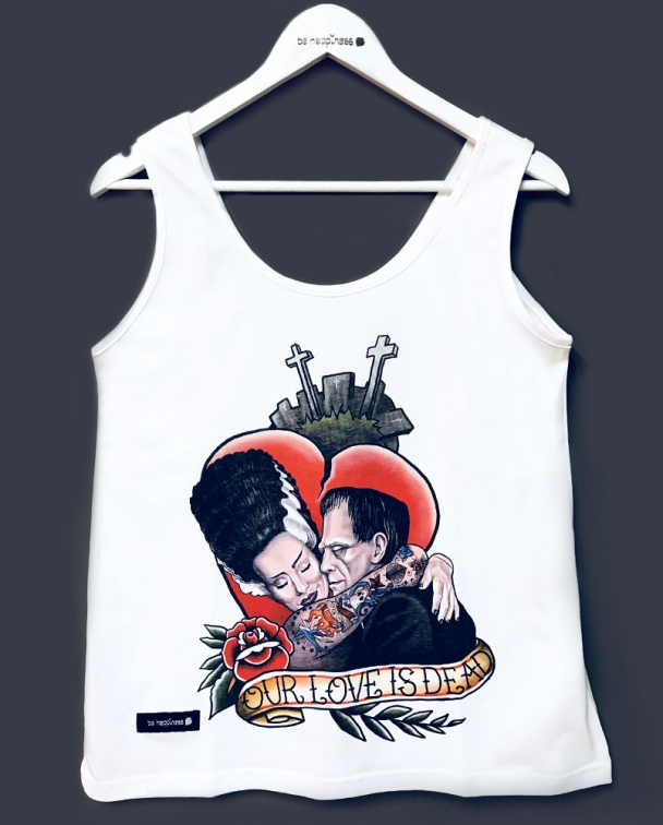 camiseta de frankestein sin mangas blanca