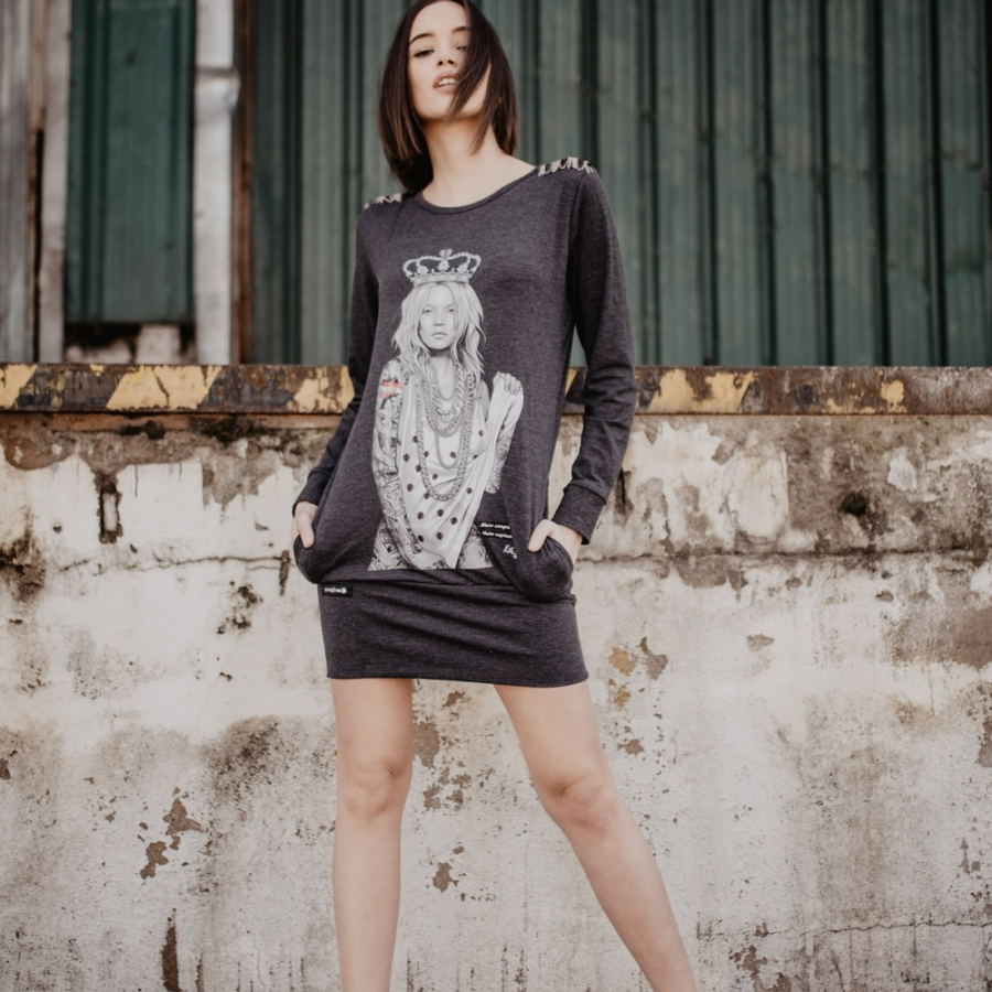 vestido kate moss gris