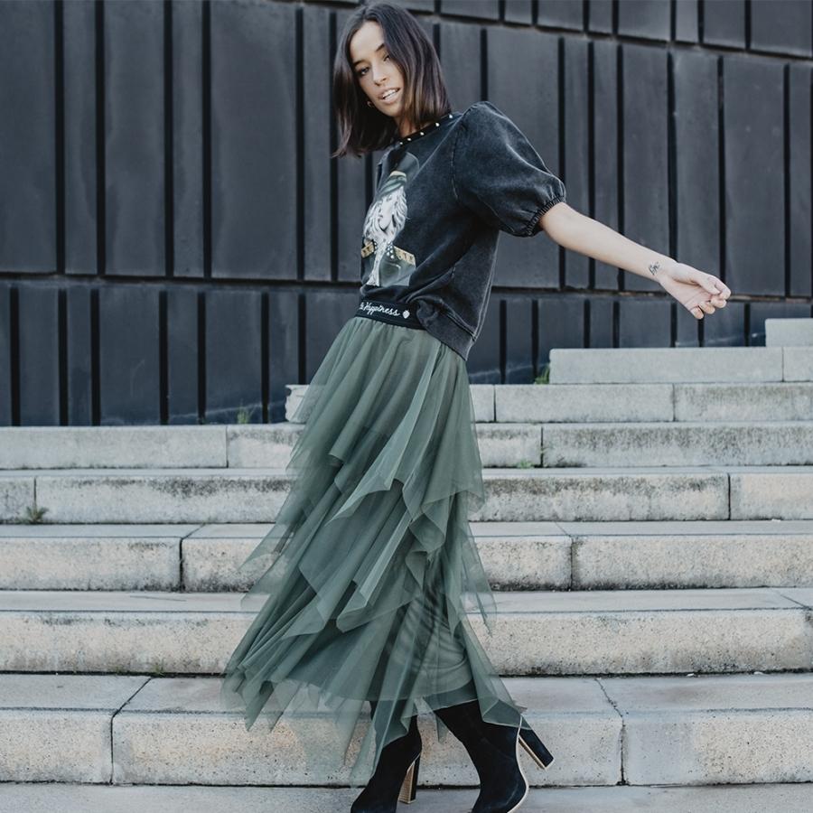 falda tul verde be happiness