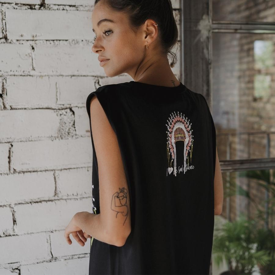 vestido flecos pepa flores india